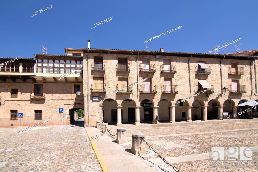 Stock Photo: Main square in Siguenza is a medieval village in Guadalajara Castile La Mancha Spain on June 13, 2017.
