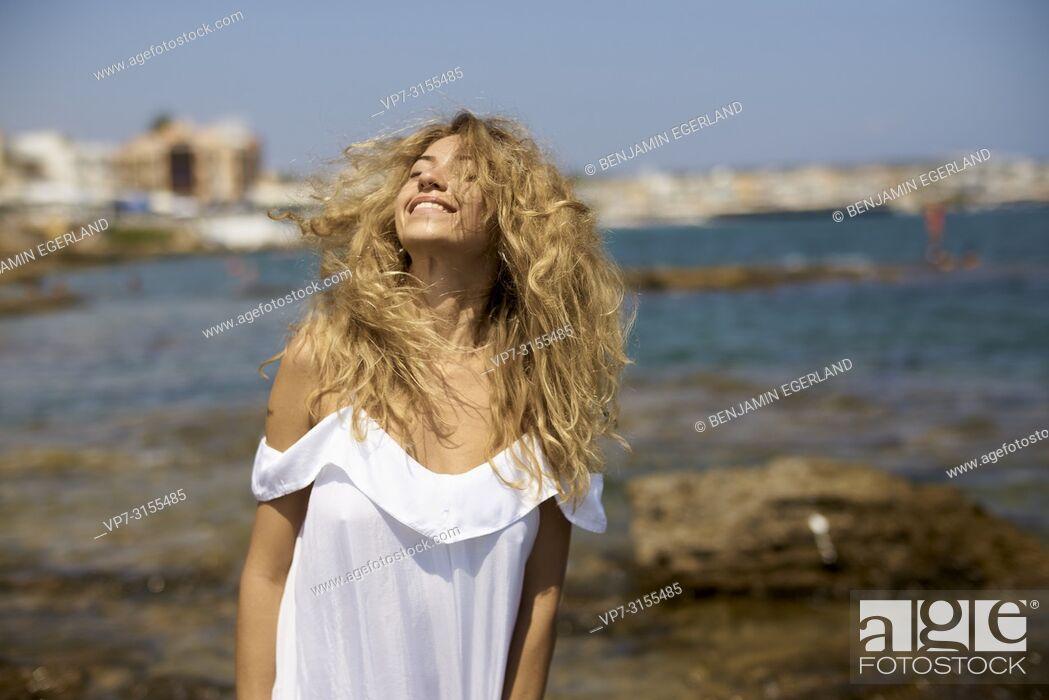 Photo de stock: Woman at beach. Crete, Greece.