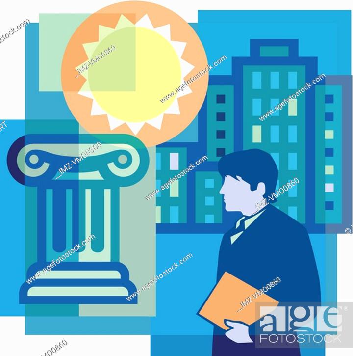 Stock Photo: A montage of the sun, a man holding documents, high-rise buildings, and a column.