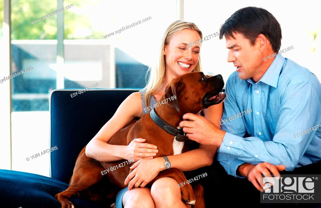 Stock Photo: Portrait of a smiling young couple sitting on sofa with their dogs at home - Indoor.