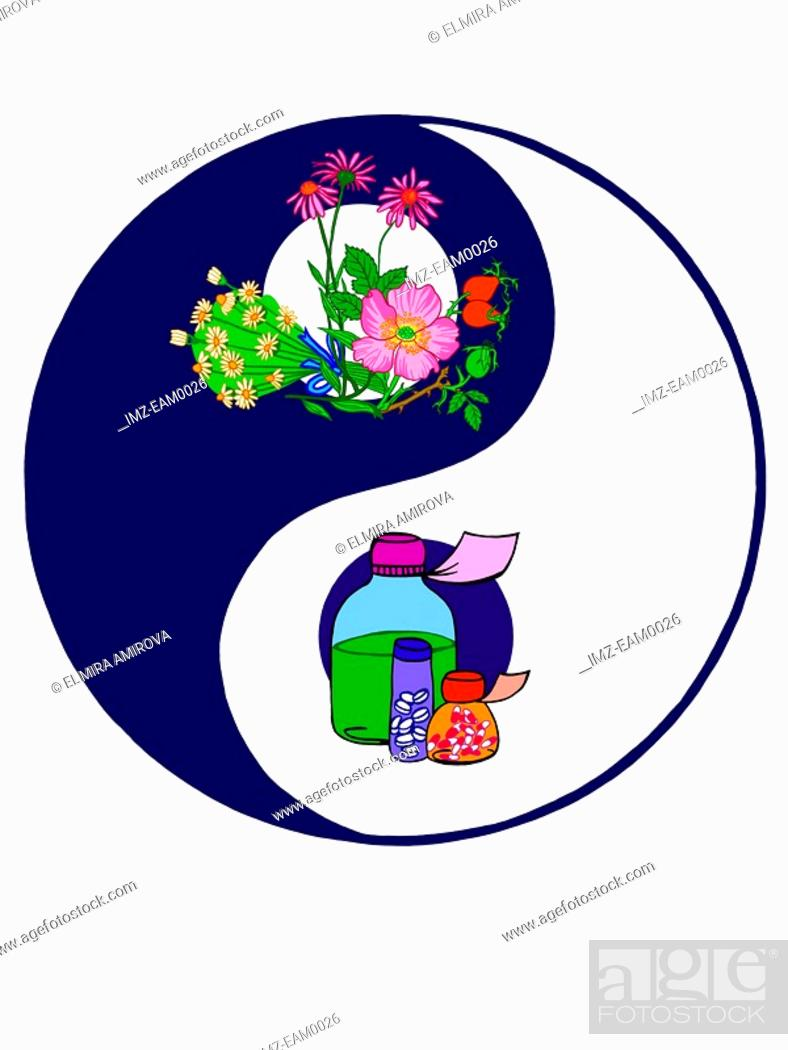 Stock Photo: A Yin and Yang symbol with organic and chemical matter.
