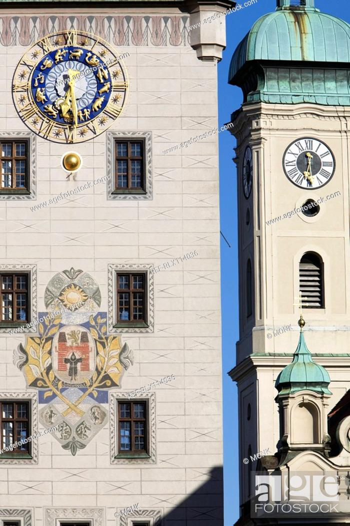 Stock Photo: Old town hall clock tower, Munich, Bavaria, Germany.