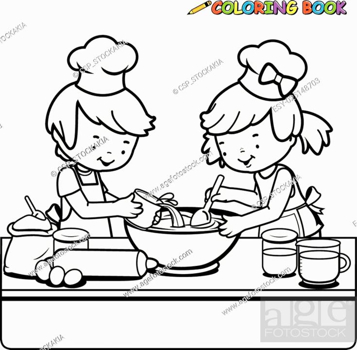 Stock Vector: Children cooking coloring page.