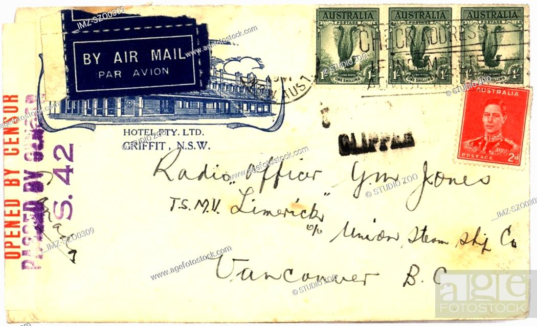 Stock Photo: Vintage envelope with script writing, by air mail.