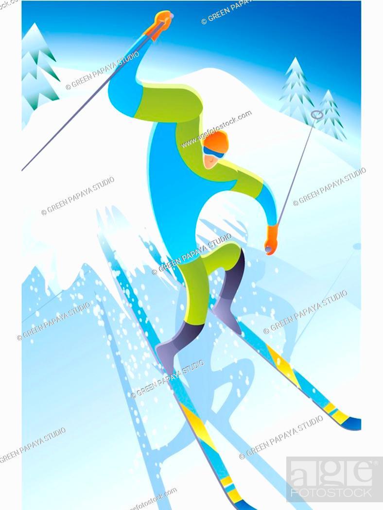 Stock Photo: Skiing.