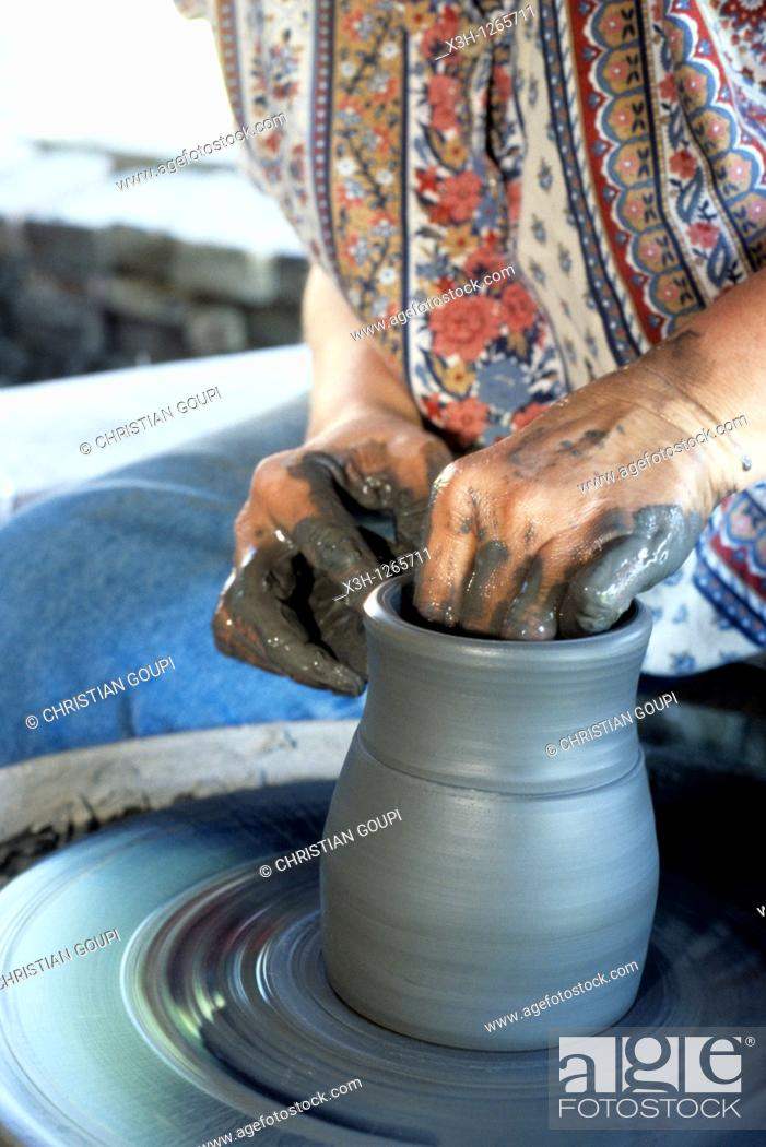 Stock Photo: pottery with lathe-work, Saint-Amand-en-Puisaye, Nievre department, region of Burgundy, center of France, Europe.