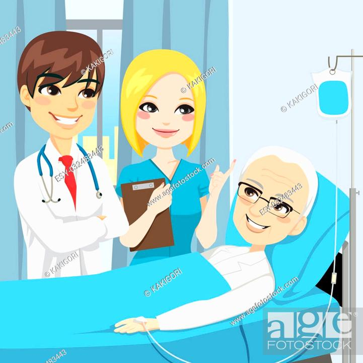 Doctor and nurse visit a senior old man patient lying down on