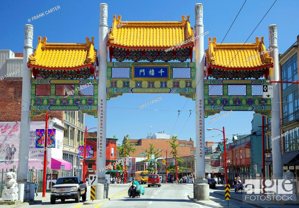 Stock Photo: Vancouver Chinatown's Millennium Gate across Pender Street was built to inaugurate the new Millennium, symbolic of the past and future and Asia and the West.