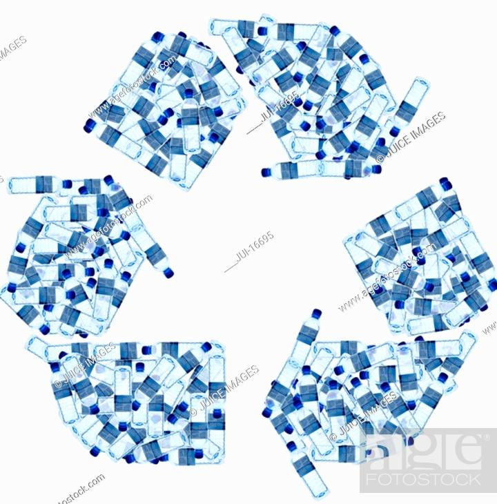 Stock Photo: Recycling symbol made of water bottles.