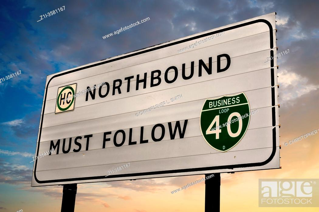 Stock Photo: Northbound Must Follow Business I-40 sign just outside Amarillo Texas.
