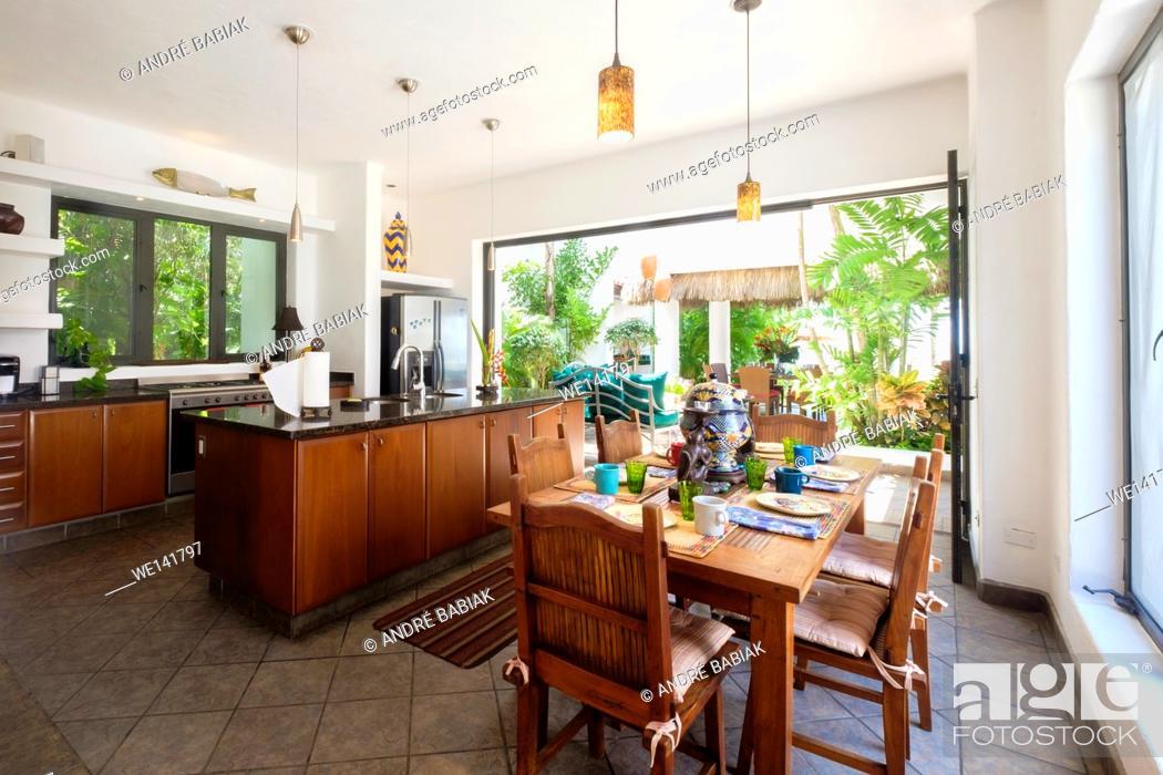 Stock Photo: Kitchen in upscale Mexican Residence, Punta de Mita, Riviera Nayarit, Mexico.