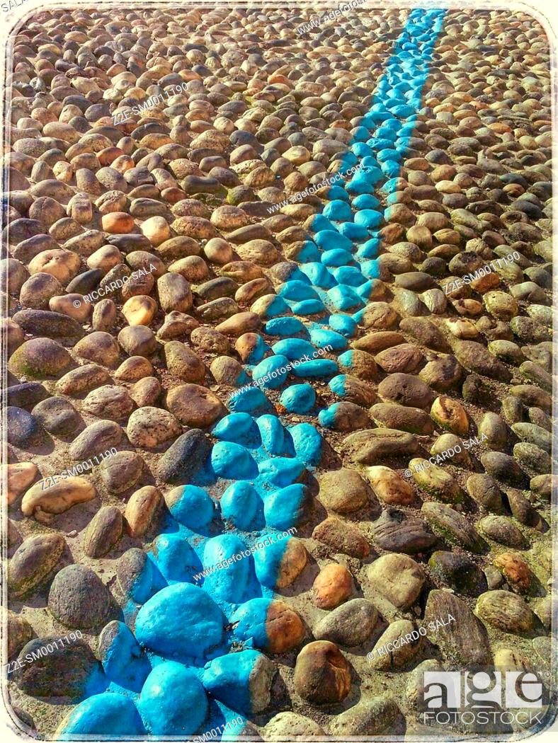 Stock Photo: Cobble Stones with Blue Line Texture.
