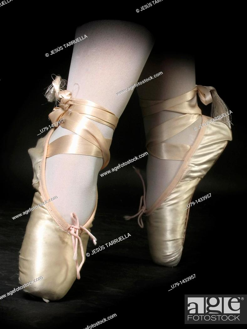 Stock Photo: Closeup of the feet of a ballet dancer.