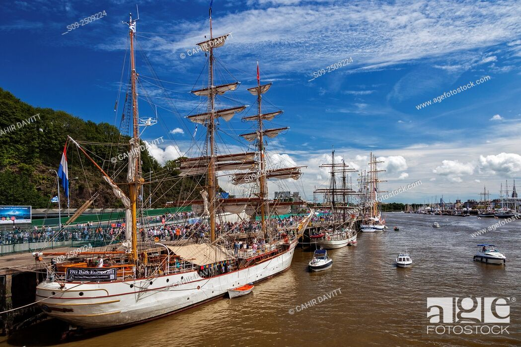 Stock Photo: The sail training 3 masted steel barque vessel the Bark Europa moored at Ferrybank for the Tall Ships Festival Waterford, Ferrybank, Co.