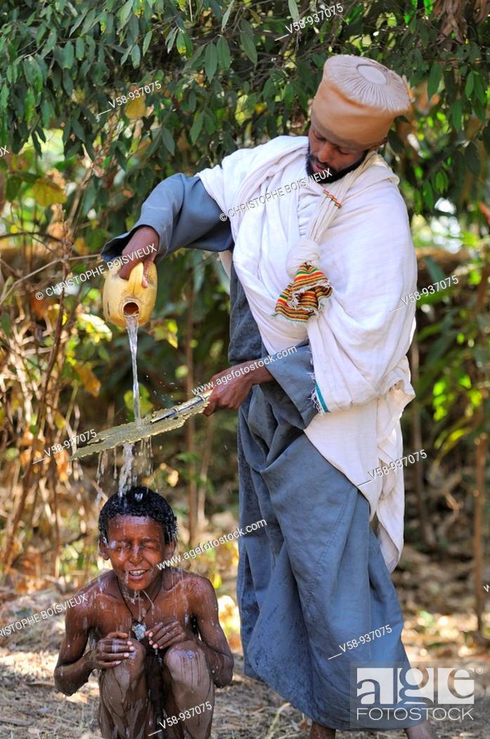 Stock Photo: Baptism ceremony. Church of Debre Sina Maryam. Gorgora. Lake Tana. Ethiopia.