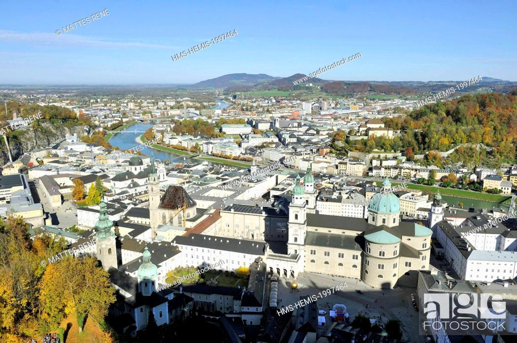 Stock Photo: Austria, Salzburg, historic centre listed as World Heritage by UNESCO, view over the city from Hohensalzburg Castle with the cathedral (Dom) St Rupert.