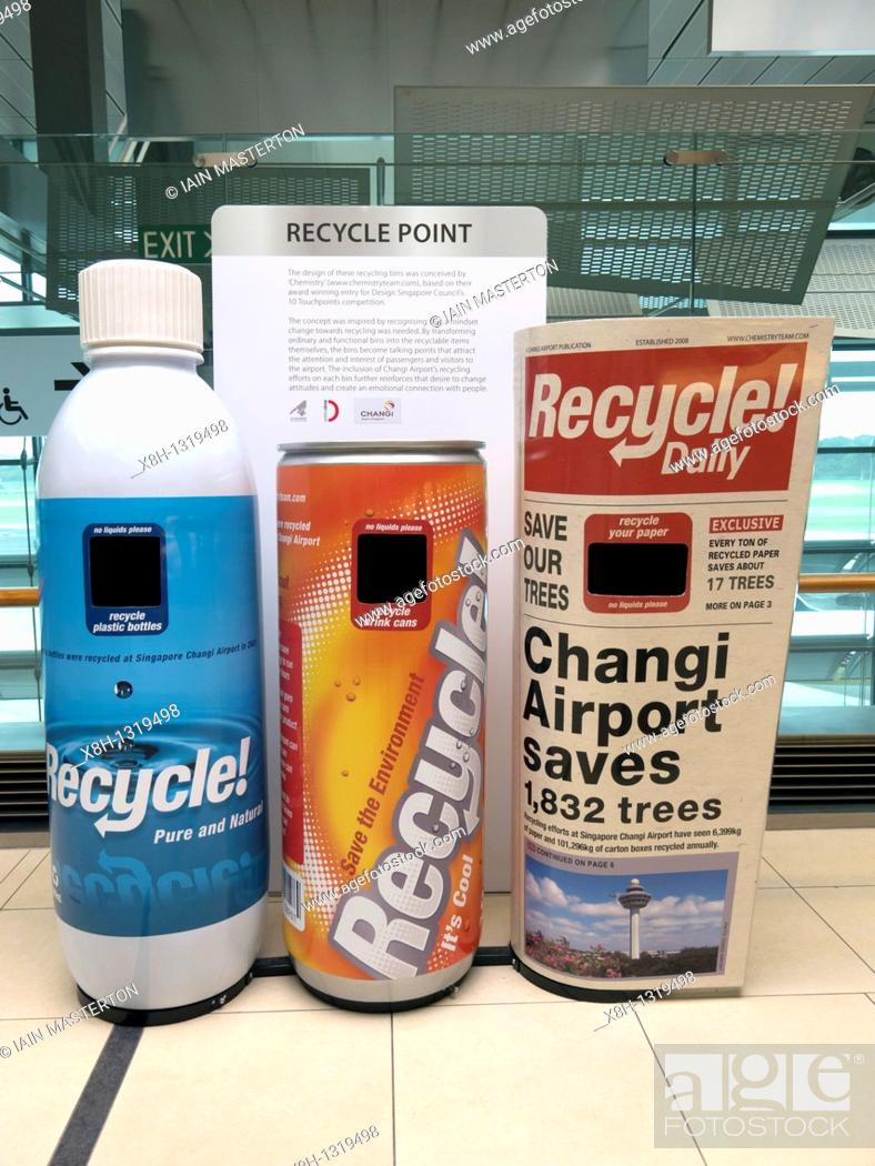 Stock Photo: Waste bins designed for recycling at Changi Airport in Singapore.