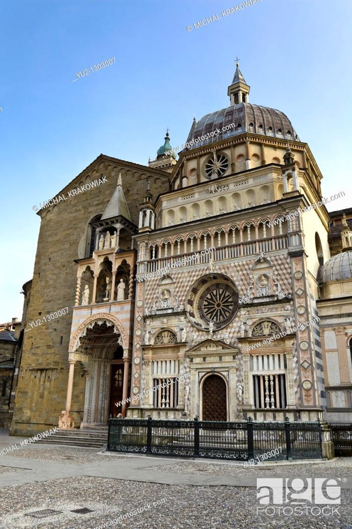 Stock Photo: Front of The Basilica of Santa Maria Maggiore seen from Piazza Duomo  Bergamo, Italy.