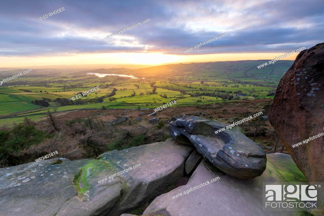 Stock Photo: Sunset over Tittersworth Reservoir at The Roaches, Peak District National Park, Staffordshire, England, United Kingdom, Europe.