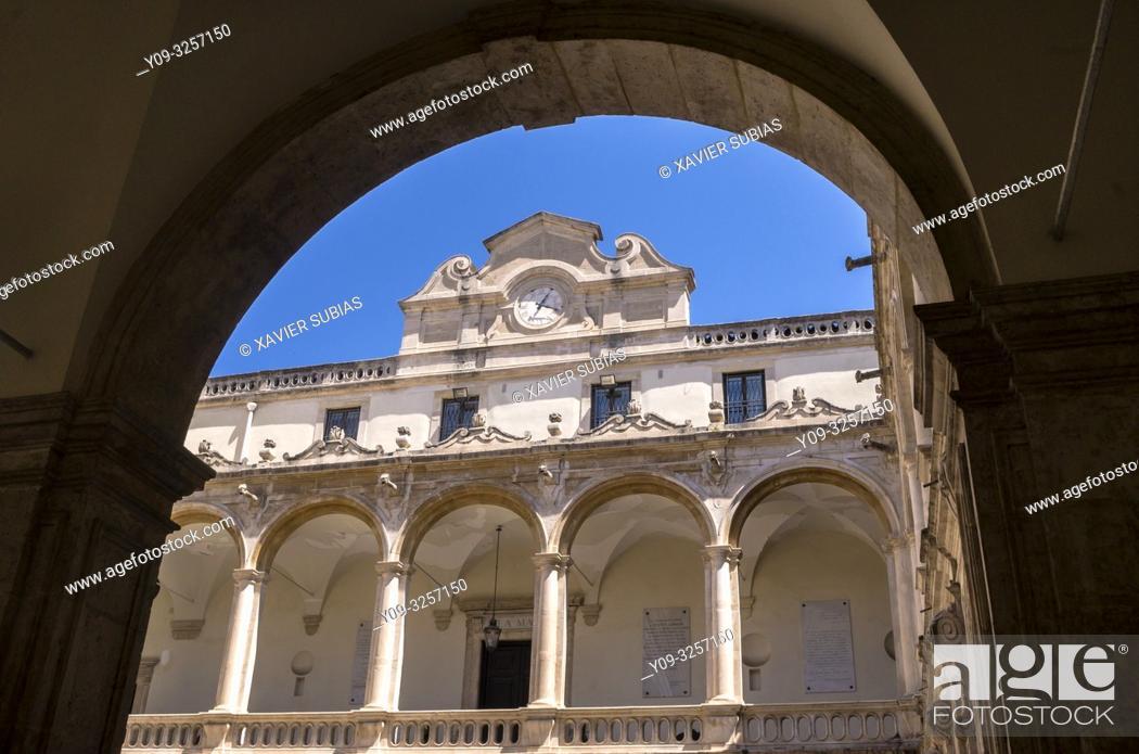 Stock Photo: Cloister, University of Catania, Catania, Sicily, Italy.