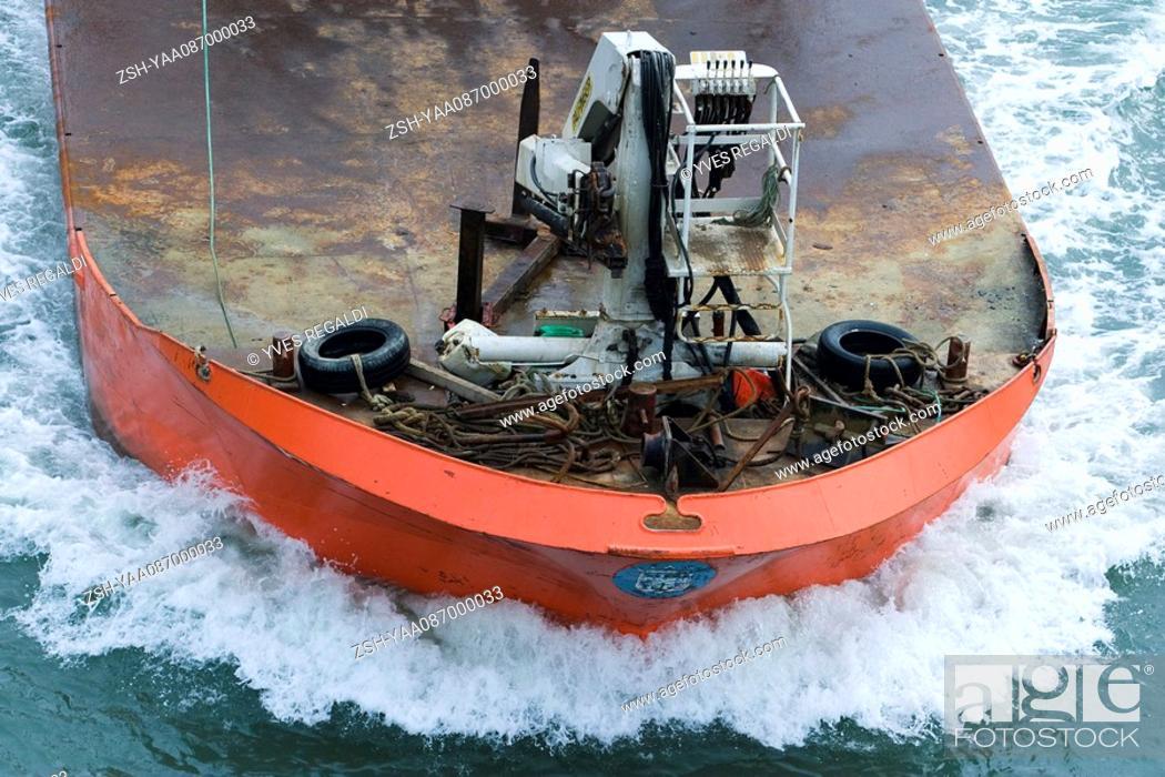 Stock Photo: Fishing boat, close-up, high angle view.