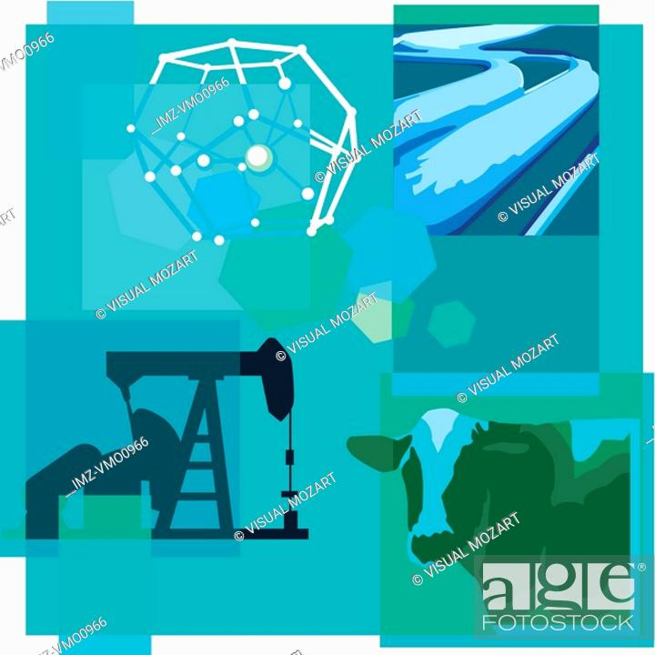 Stock Photo: Montage illustration about methane reduction containing a cow, methane filled pipes and drilling equipment.