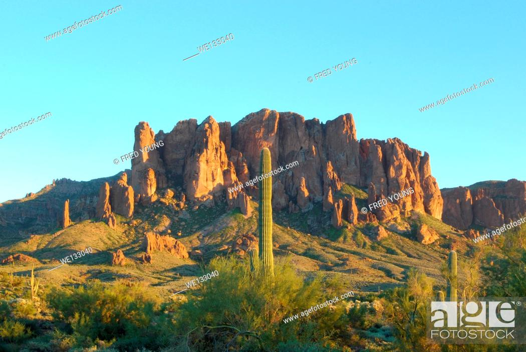 Stock Photo: A view of the Superstiton Mountains in Lost Dutchman State Park in Apache Junction Arizona.