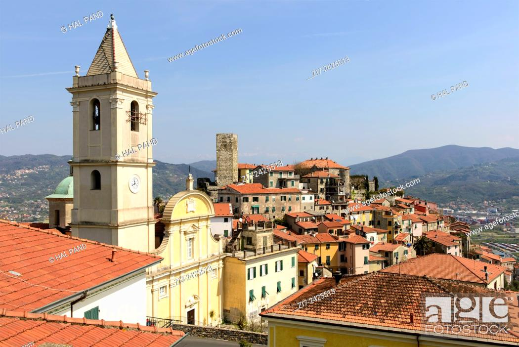 Stock Photo: view of historical village on hill top in Liguria inland, Vezzano Ligure, Italy.