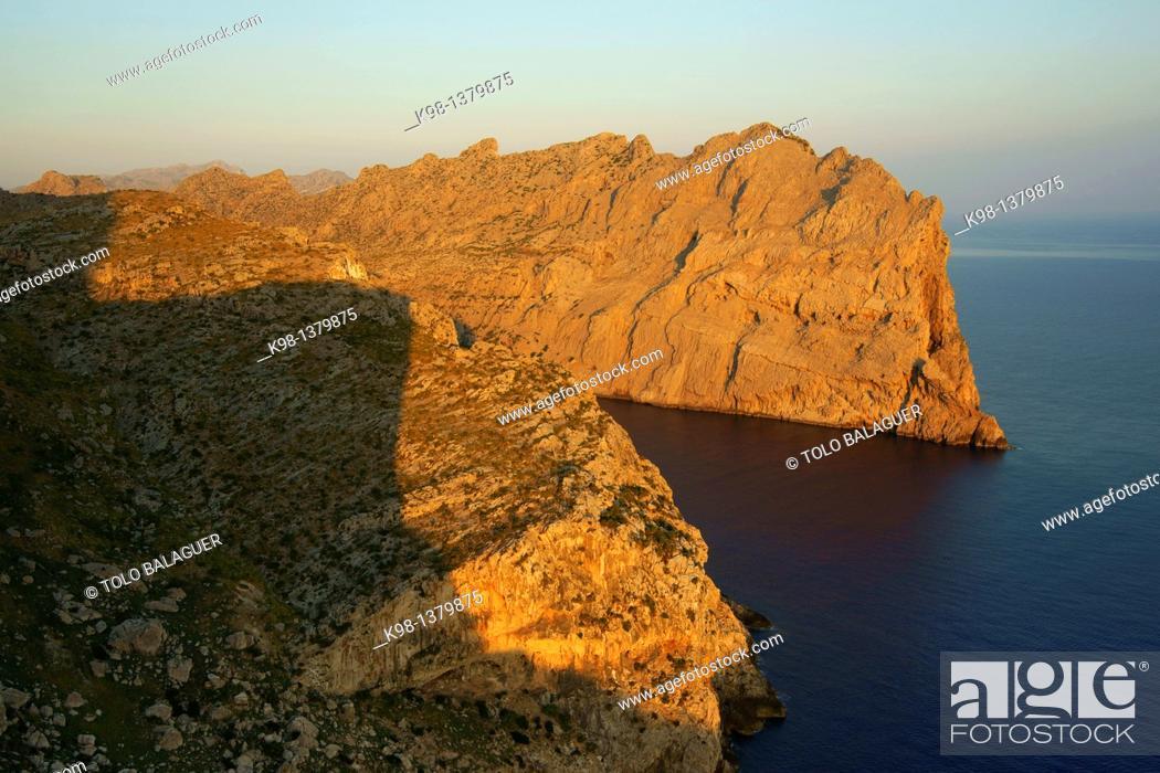 Stock Photo: Cap de Catalunya, from the Mirador des Colomer, Pollenca, Mallorca Illes Balears Spain Tramuntana.