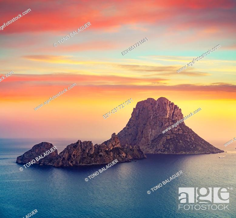 Stock Photo: Es Vedra islet sunset in Sant Josep of Balearic Islands.