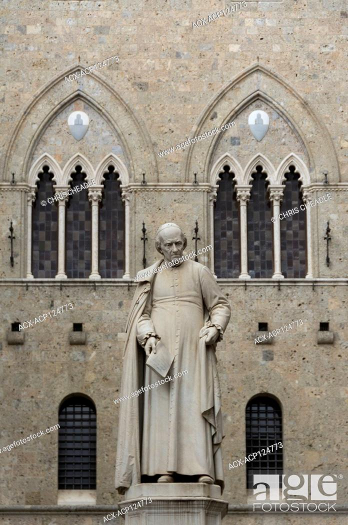 Stock Photo: St Benedict statue in Siena, Italy.