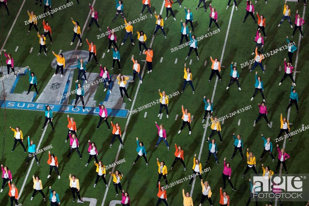 Stock Photo: February 15, 2018 - Oakland, California, USA - Half time dancers perform with Justin Timberlake in the Super Bowl on 02/15/18, Minneapolis, MN.
