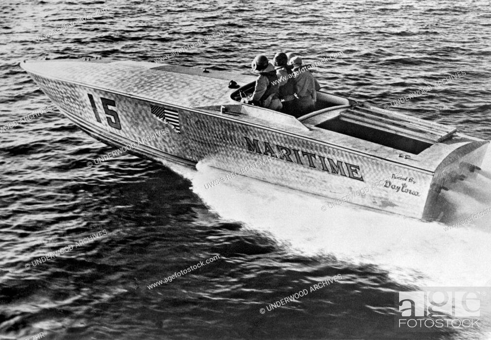 Stock Photo: West Palm Beach, Florida June 14, 1965.The spear-nosed aluminum power boat won the 180 mile West Palm Beach to Lucaya-Freeport Gateway Marathon.