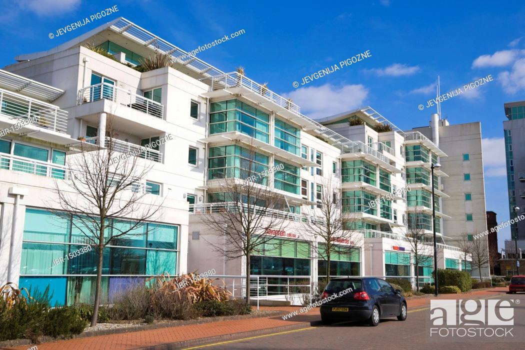 Stock Photo: Apartment block, Havannah Street, near Cardiff Bay, Cardiff, Caerdydd, South Glamorgan, Wales, United Kingdom, Europe.