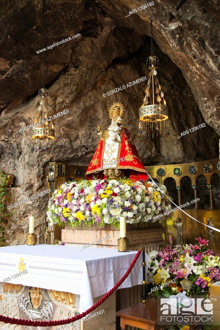 Stock Photo: The Holy Cave where is the sculpture of Covadonga Virgin. Cangas de Onis. Council. Oriente region. Picos de Europa. Asturias. Spain.