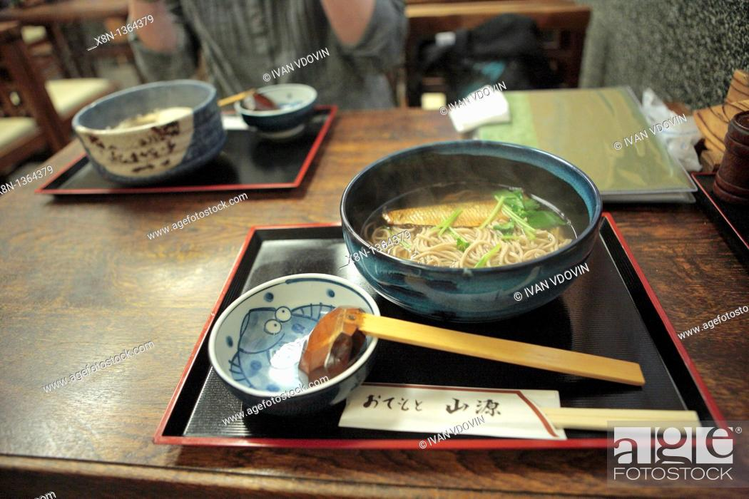 Stock Photo: Traditional food, soba noodles with heering, Kyoto, Japan.