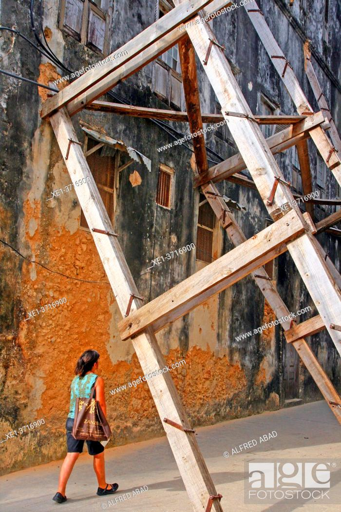 Stock Photo: reinforcements to the building wall, Stone Town, Unguja Island, Zanzibar.