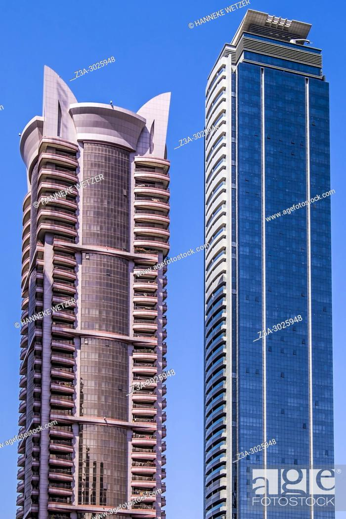 Stock Photo: Brand new modern architecture in Business Bay, a business capital as well as a freehold city in Dubai, United Arab Emirates.