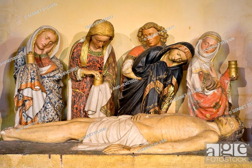 Stock Photo: France, Nievre, Nevers, Saint Cyr Sainte Julitte Cathedral, the Entombment of Christ.