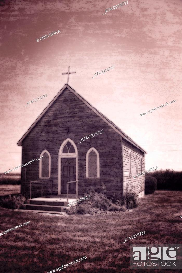 Stock Photo: Old fashion church on Alberta Prairie.