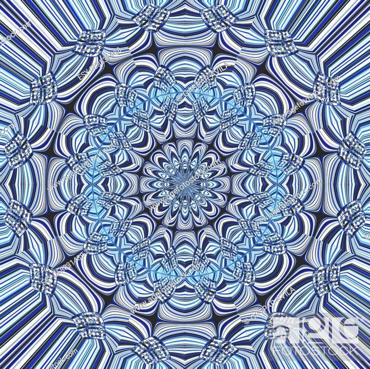 Stock Vector: Blue mandala with fine details. Geometric digital art.