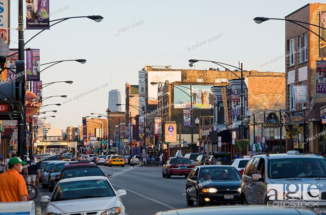 Stock Photo: View of Chicago's Wrigleyville.