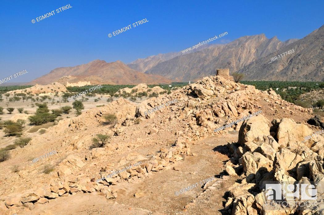 Stock Photo: Historic adobe watchtower near Nakhal, Nakhl, Hajar al Gharbi Mountains, Batinah Region, Sultanate of Oman, Arabia, Middle East.