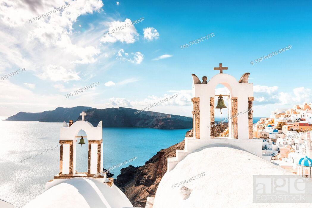 Stock Photo: Oia Town;Santorini;Aegean Sea;Greece.