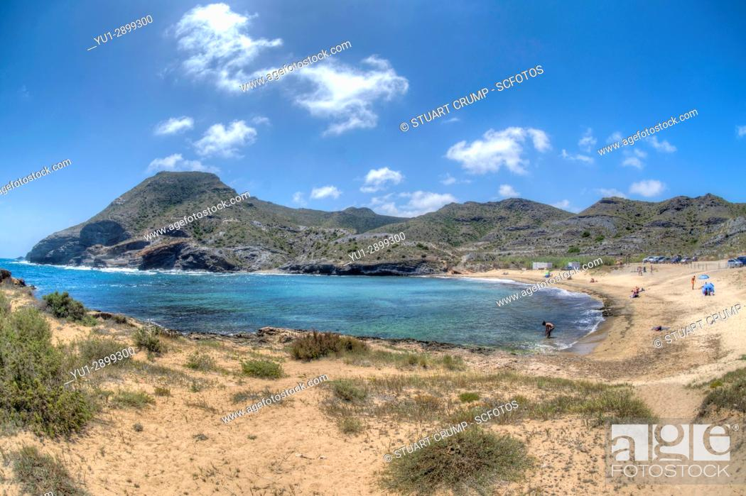 Stock Photo: HDR Fisheye image of the Beach at Cala Reona in Murcia Spain.