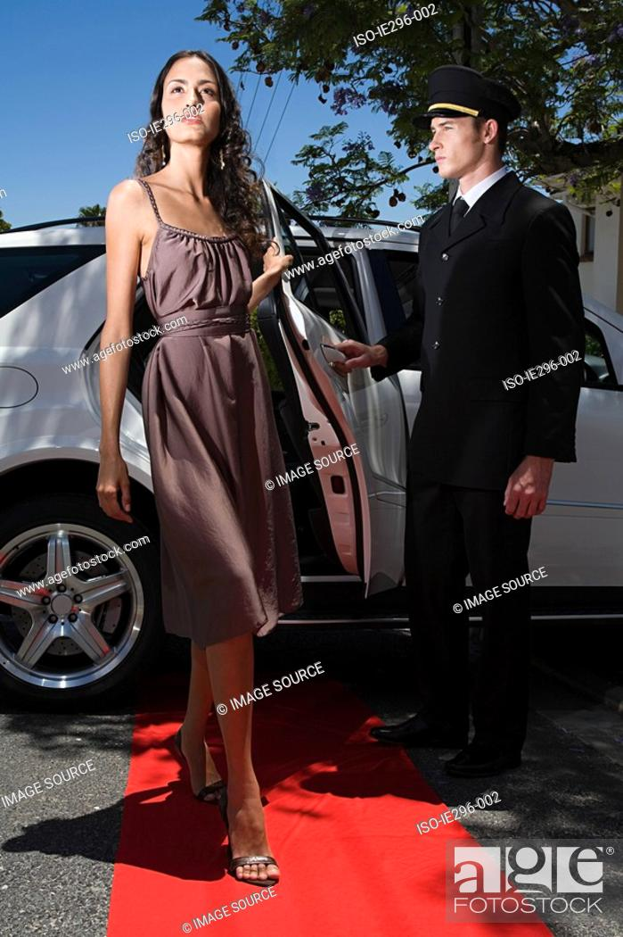 Stock Photo: Woman on red carpet.