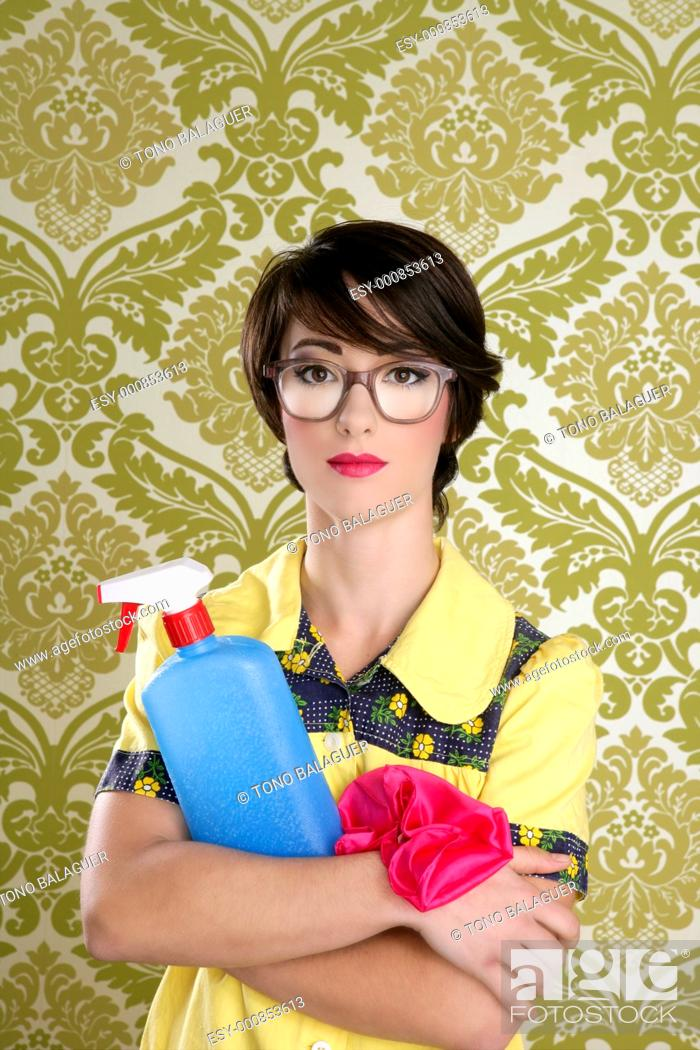 Stock Photo: housewife nerd retro cleaning chores equipment vintage wallpaper.