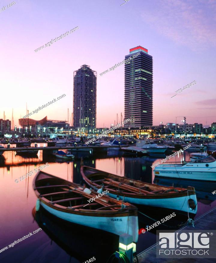 Stock Photo: olympic port, Mapfre tower and Hotel Arts. Barcelona. Catalonia, Spain.