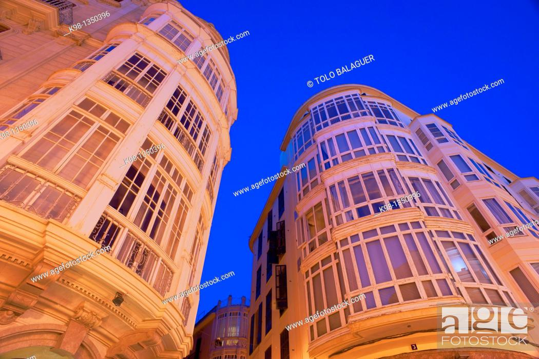 Stock Photo: Modernist buildings in the street Peraires, Palma Mallorca Balearic Islands Spain.