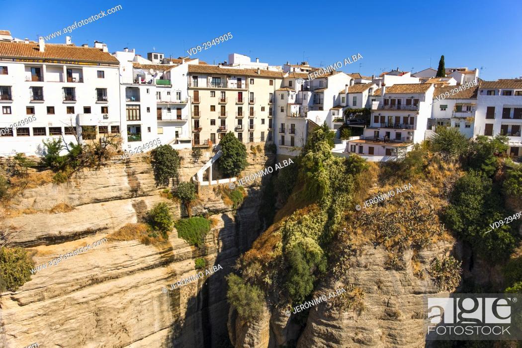 Stock Photo: El Tajo canyon or gorge, Ronda. Málaga province Costa del Sol, Andalusia. Southern Spain Europe.